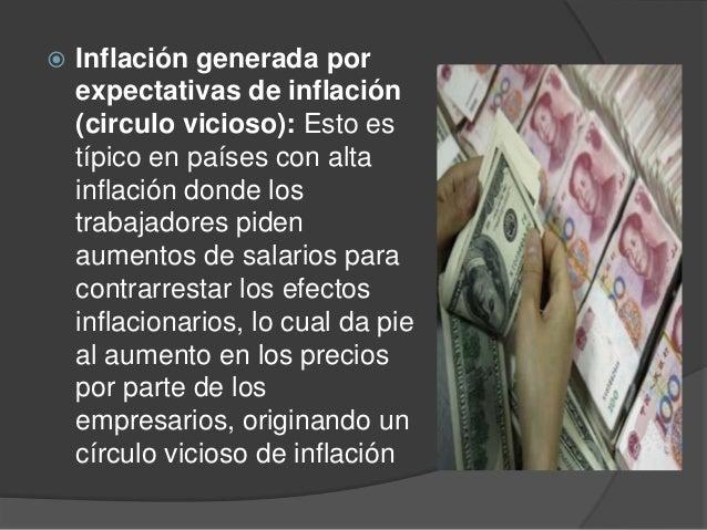  Inflación generada porexpectativas de inflación(circulo vicioso): Esto estípico en países con altainflación donde lostra...