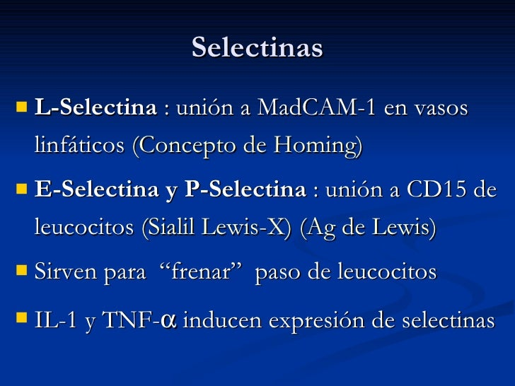 Selectinas <ul><li>L-Selectina  : unión a MadCAM-1 en vasos linfáticos  (Concepto de Homing) </li></ul><ul><li>E-Selectina...