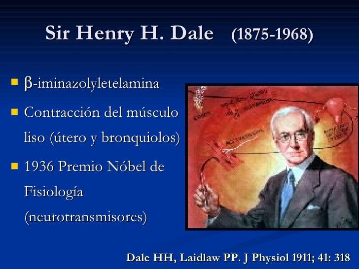 Sir Henry H. Dale  (1875-1968) <ul><li> -iminazolyletelamina </li></ul><ul><li>Contracción del músculo liso (útero y bron...