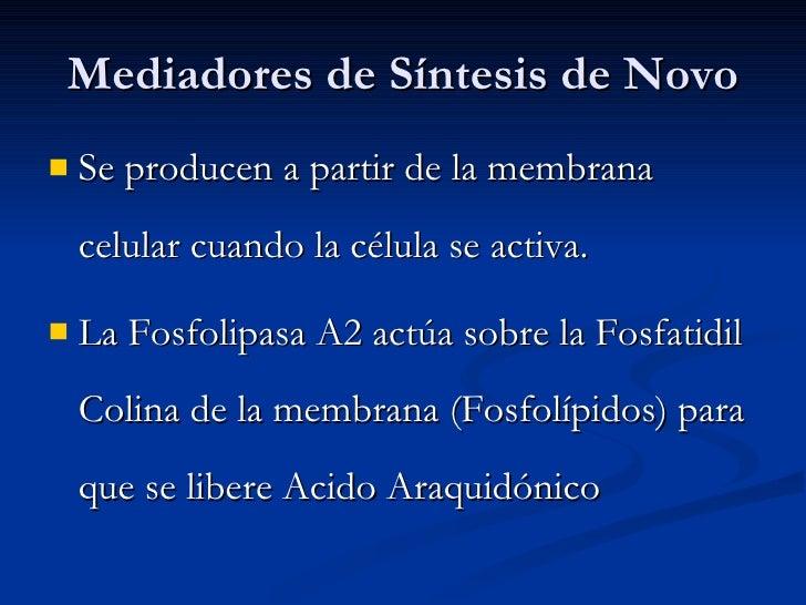 Mediadores de Síntesis de Novo <ul><li>Se producen a partir de la membrana celular cuando la célula se activa. </li></ul><...