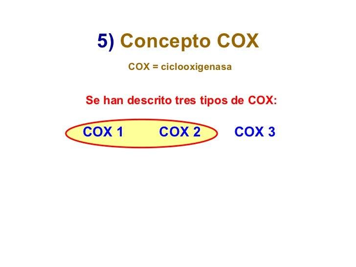5)   Concepto COX Se han descrito tres tipos de COX: COX = ciclooxigenasa COX 1 COX 2 COX 3