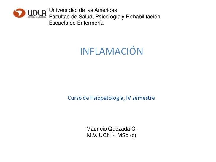 Universidad de las AméricasFacultad de Salud, Psicología y RehabilitaciónEscuela de Enfermería            INFLAMACIÓN     ...