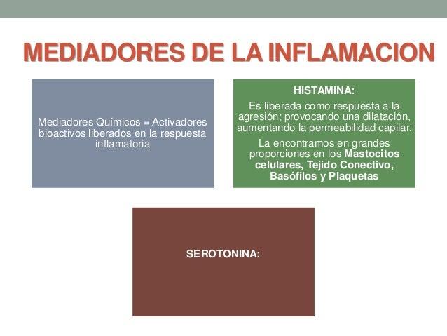 MEDIADORES DE LA INFLAMACION Mediadores Químicos = Activadores bioactivos liberados en la respuesta inflamatoria HISTAMINA...