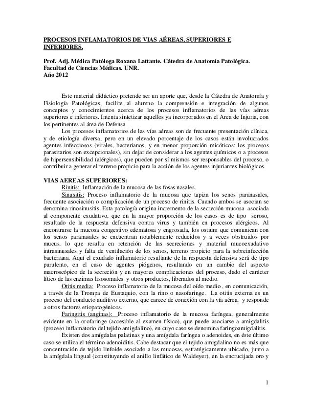 PROCESOS INFLAMATORIOS DE VIAS AÉREAS, SUPERIORES E INFERIORES. Prof. Adj. Médica Patóloga Roxana Lattante. Cátedra de Ana...