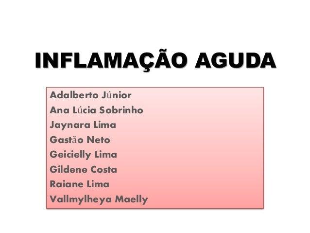 INFLAMAÇÃO AGUDA Adalberto Júnior Ana Lúcia Sobrinho Jaynara Lima Gastão Neto Geicielly Lima Gildene Costa Raiane Lima Val...