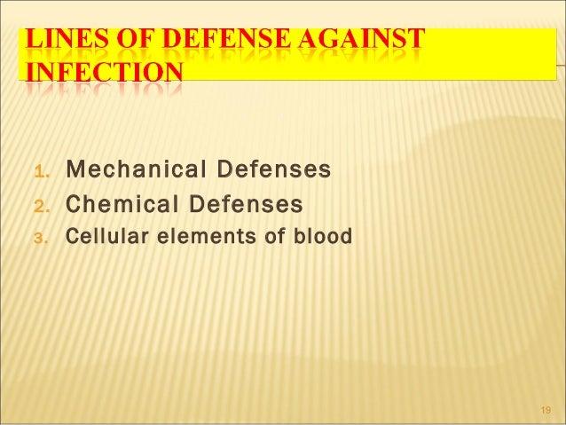 1.   Mechanical Defenses2.   Chemical Defenses3.   Cellular elements of blood                                  19