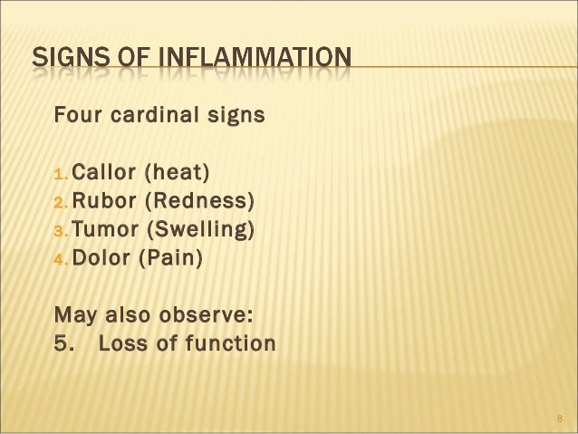 Four cardinal signs1. Callor (heat)2. Rubor (Redness)3. Tumor (Swelling)4. Dolor (Pain)May also obser ve:5. Loss of functi...