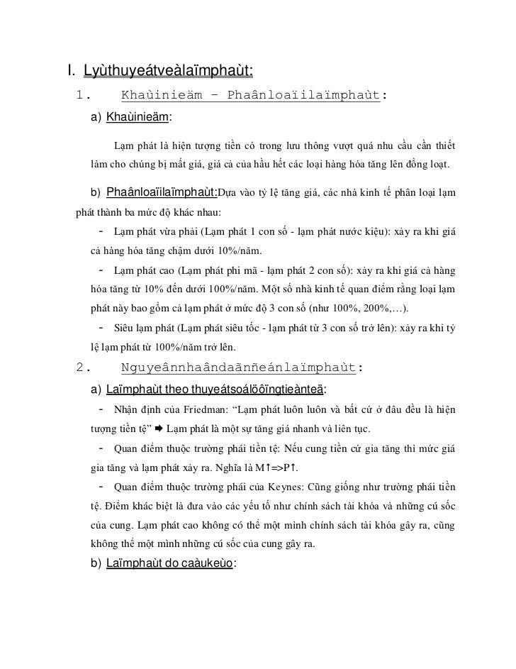I. Lyùthuyeátveàlaïmphaùt: 1.        Khaùinieäm – Phaânloaïilaïmphaùt:    a) Khaùinieäm:         Lạm phát là hiện tượng ti...