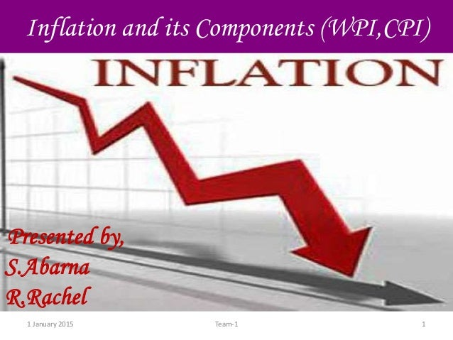 1 January 2015 1Team-1 Inflation and its Components (WPI,CPI) Presented by, S.Abarna R.Rachel