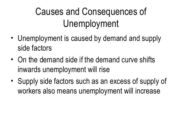 causes and effect of unemployment The issue of unemployment is a very serious one indeed, which cannot be tackled easily for your help mentioned here are few unemployment causes and effects.