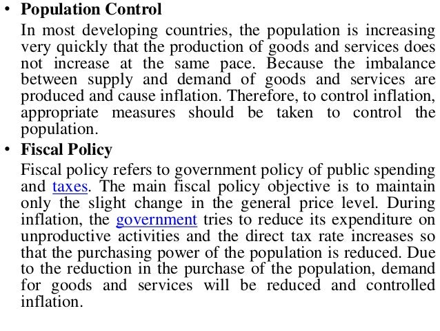 methods to control inflation