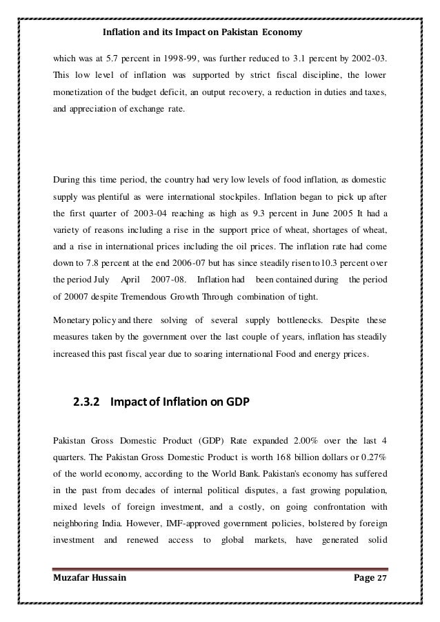 inflation and its effect on pakistan Impact of interest rate, inflation and money supply on exchange rate volatility in pakistan 1,2tariq mahmood ali,  the present study investigates impact of inflation, interest rate and money-supply on volatility of exchange rate in pakistan to estimate short and long run.