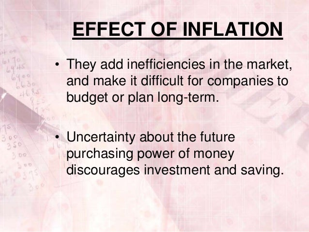 effect of inflation Chapter 13 outline iii effects of inflation a the redistribution of income  and wealth 1 unanticipated inflation, inflation that is not expected, will.