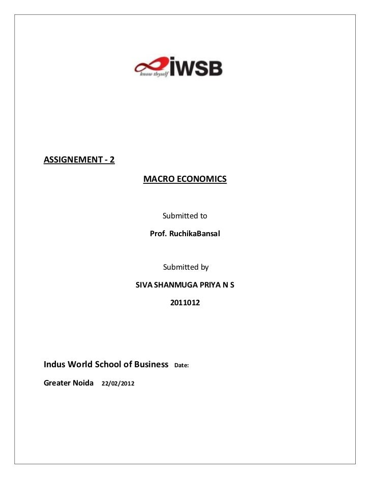 ASSIGNEMENT - 2                              MACRO ECONOMICS                                   Submitted to               ...