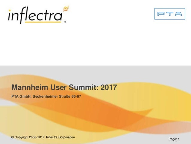 © Copyright 2006-2017, Inflectra Corporation ® Page: 1 Mannheim User Summit: 2017 PTA GmbH, Seckenheimer Straße 65-67