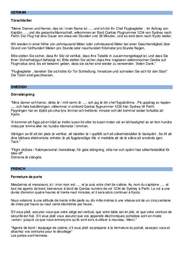 Multilingual In Flight Announcements For Flight Attendants Cabin C