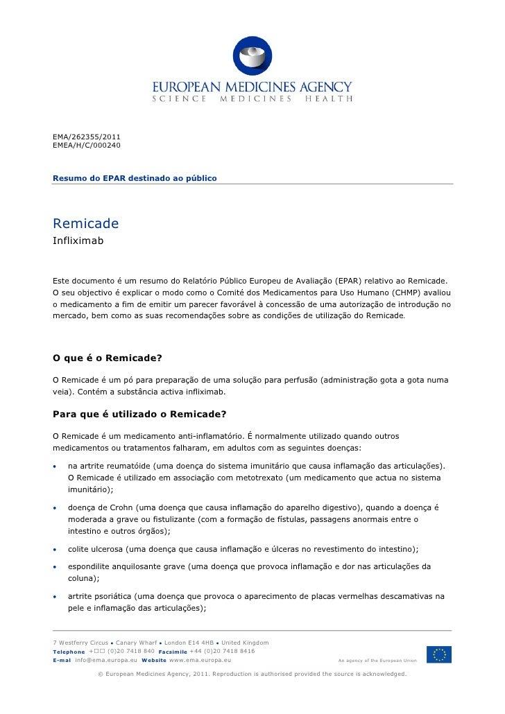 EMA/262355/2011EMEA/H/C/000240Resumo do EPAR destinado ao públicoRemicadeInfliximabEste documento é um resumo do Relatório...
