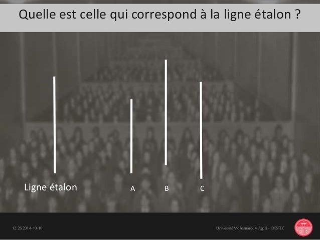 Quelle est celle qui correspond à la ligne étalon ? 18-10-201412:26 UniversitéMohammedV Agdal - DESTEC Ligne étalon A B C