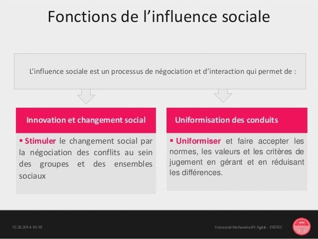 Fonctions de l'influence sociale 18-10-201412:26 UniversitéMohammedV Agdal - DESTEC  Stimuler le changement social par la...