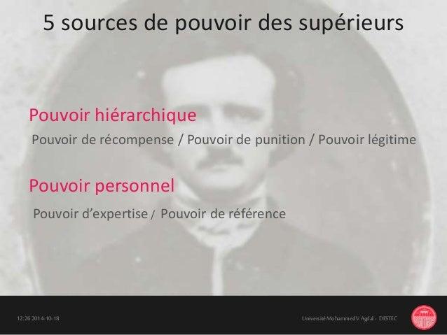 5 sources de pouvoir des supérieurs 18-10-201412:26 UniversitéMohammedV Agdal - DESTEC Pouvoir d'expertise / Pouvoir de ré...