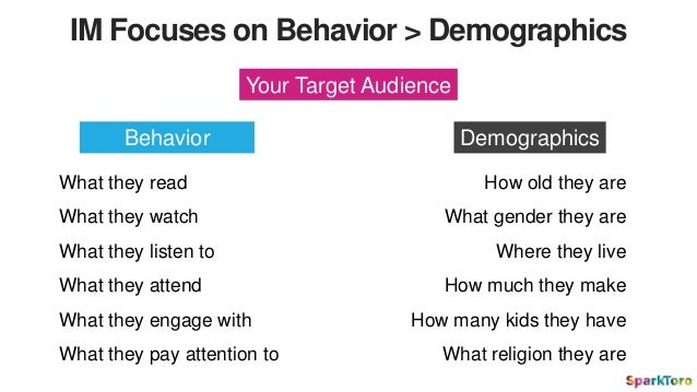 IM Focuses on Behavior > Demographics Your Target Audience Behavior Demographics What they read What they watch What they ...