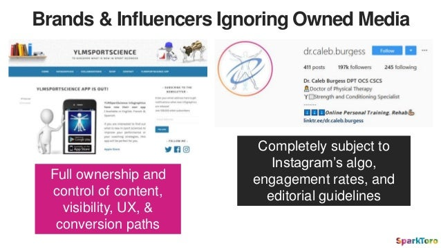 Brands & Influencers Ignoring Owned Media Completely subject to Instagram's algo, engagement rates, and editorial guidelin...