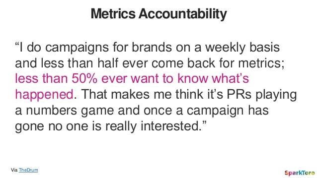 """Metrics Accountability Via TheDrum """"I do campaigns for brands on a weekly basis and less than half ever come back for metr..."""