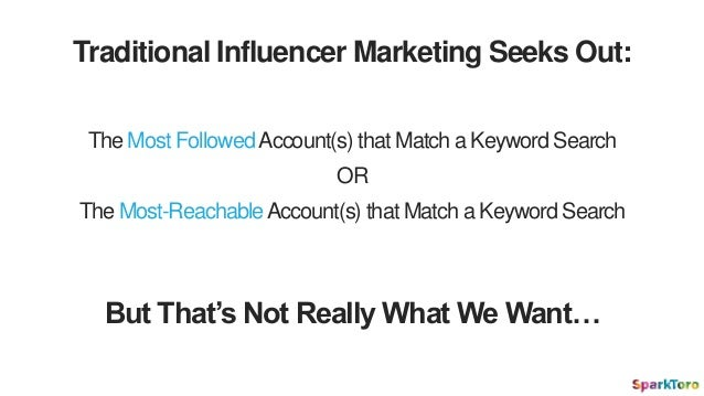 The Most FollowedAccount(s) that Match a Keyword Search Traditional Influencer Marketing Seeks Out: The Most-ReachableAcco...