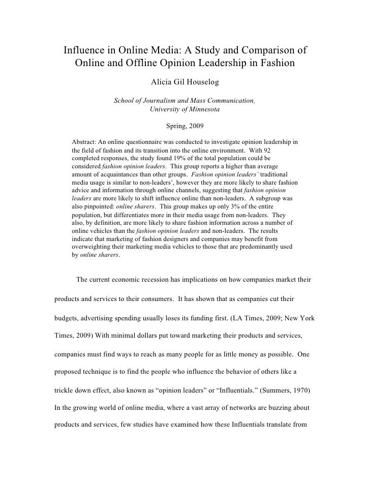 Influence in Online Media: A Study and Comparison of       Online and Offline Opinion Leadership in Fashion               ...