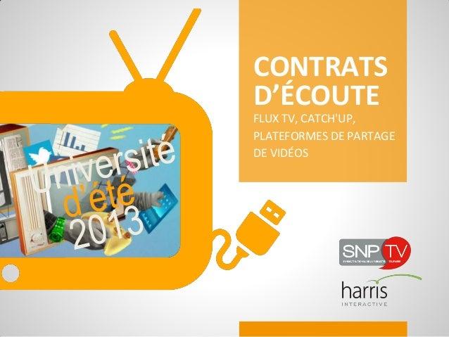 CONTRATSD'ÉCOUTEFLUX TV, CATCHUP,PLATEFORMES DE PARTAGEDE VIDÉOS