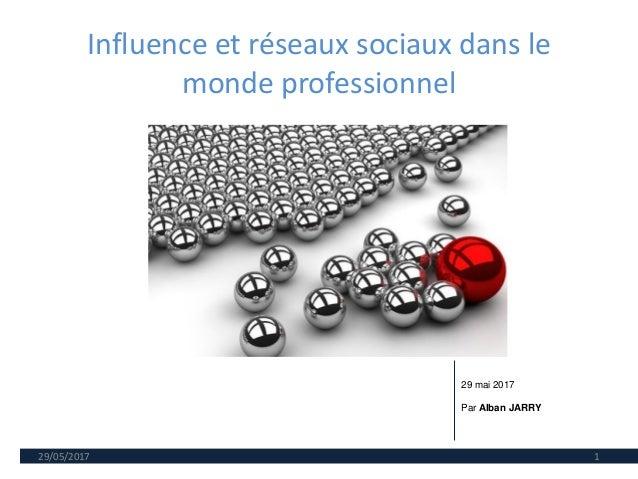 Influence et réseaux sociaux dans le monde professionnel 29/05/2017 1 29 mai 2017 Par Alban JARRY