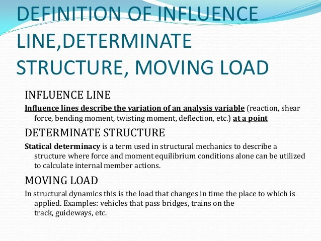 DEFINITION OF INFLUENCE LINE,DETERMINATE ...