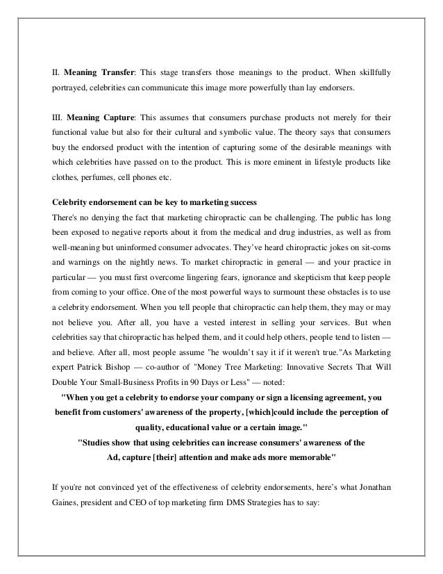 celebrity endorser influence essay Check out our top free essays on celebrities influence to help you write your own essay.