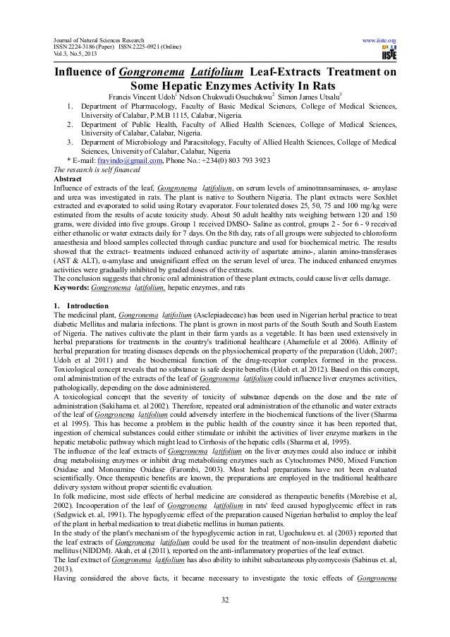 Journal of Natural Sciences Research www.iiste.orgISSN 2224-3186 (Paper) ISSN 2225-0921 (Online)Vol.3, No.5, 201332Influen...