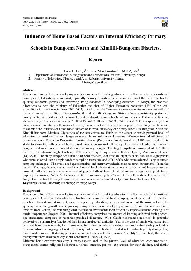 Journal of Education and Practice www.iiste.orgISSN 2222-1735 (Paper) ISSN 2222-288X (Online)Vol.4, No.10, 201338Influence...