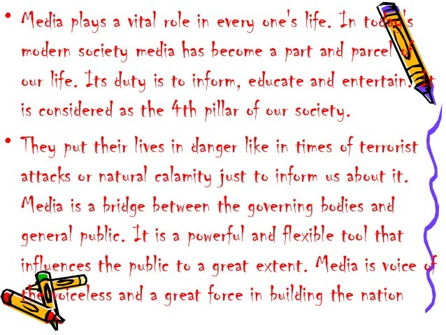 how the media influences our society essay The mass media including tv, radio and newspaper influence our society and shape our opinions and characters what is your opinion write mass media essay in 300 words.