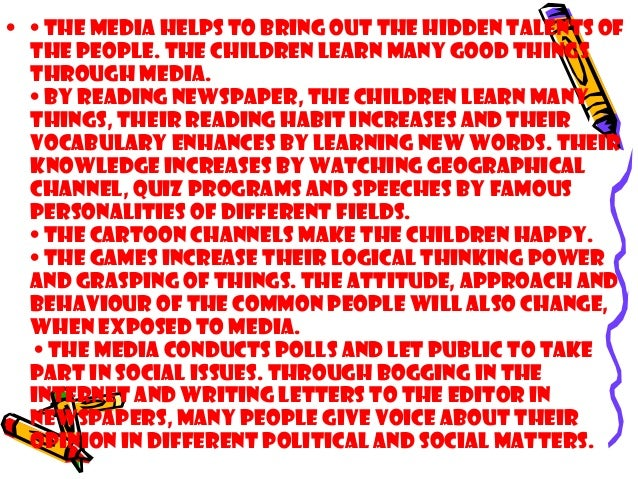short essay on the influence of media on our society You have not saved any essays the many changes in modern media are affecting our american society media, entertainment, and advertising influence the way that.