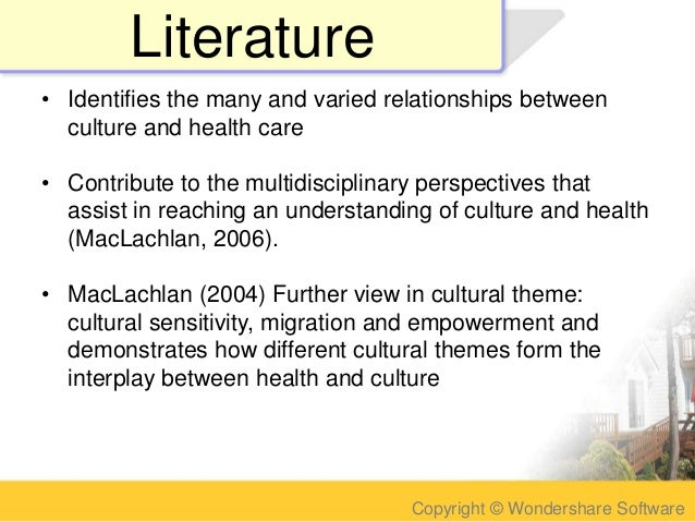 impact of culture on health essay Impact of culture on patient education impact of culture on patient education: introduction how culture influences health beliefs doing a cultural assessment cultural negotiation using interpreters in health care how culture influences health beliefs.