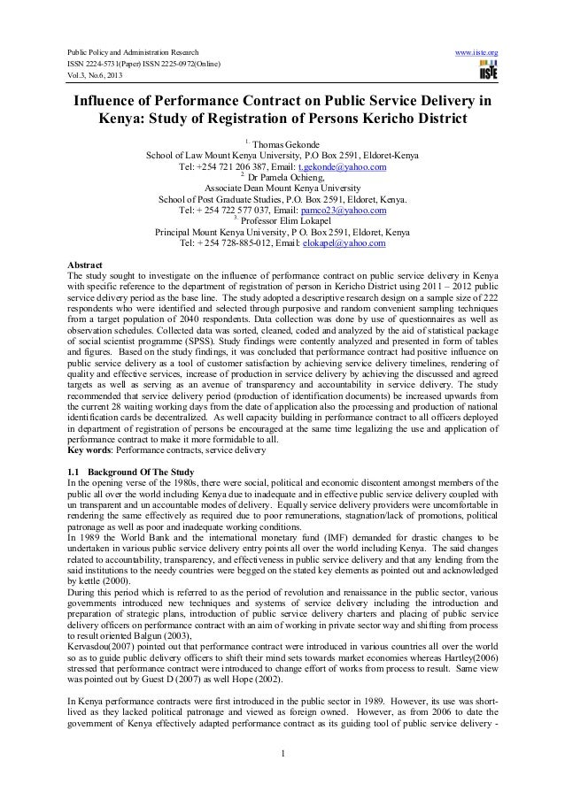 Public Policy and Administration Research www.iiste.org ISSN 2224-5731(Paper) ISSN 2225-0972(Online) Vol.3, No.6, 2013 1 I...