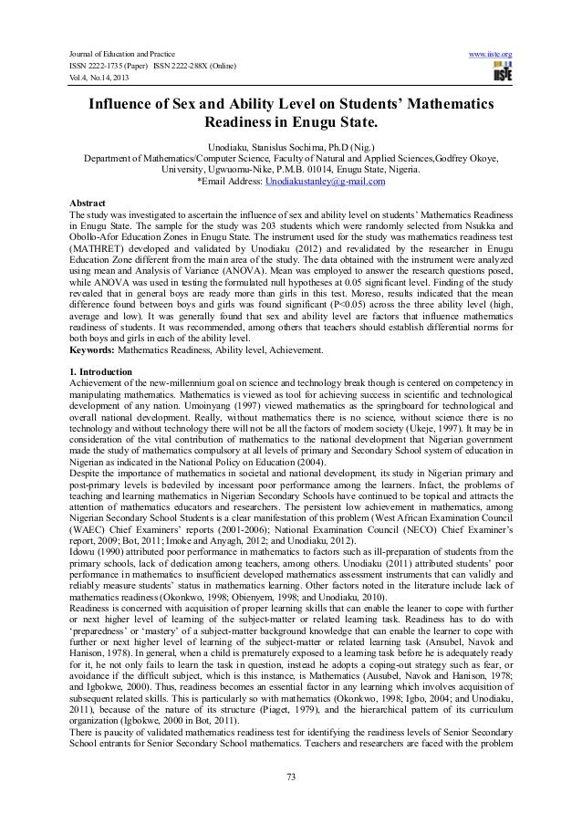 Journal of Education and Practice www.iiste.org ISSN 2222-1735 (Paper) ISSN 2222-288X (Online) Vol.4, No.14, 2013 73 Influ...