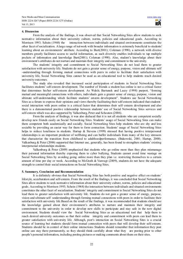 influence of social networking sites on The purpose of this research is to obtain students perceptions on how their use of social networking sites influence their academic performance a preliminary survey was conducted to a group of student from a malaysian university to gather initial findings on their use of social networking sites and the influence towards their academic performance.