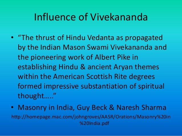 Influence of Vivekananda & Vedanta on free masonic ideas