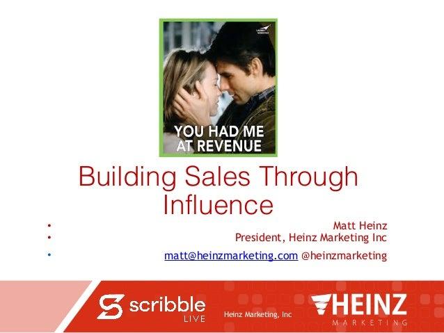 Heinz Marketing, Inc Building Sales Through Influence • Matt Heinz • President, Heinz Marketing Inc • matt@heinzmarketing....