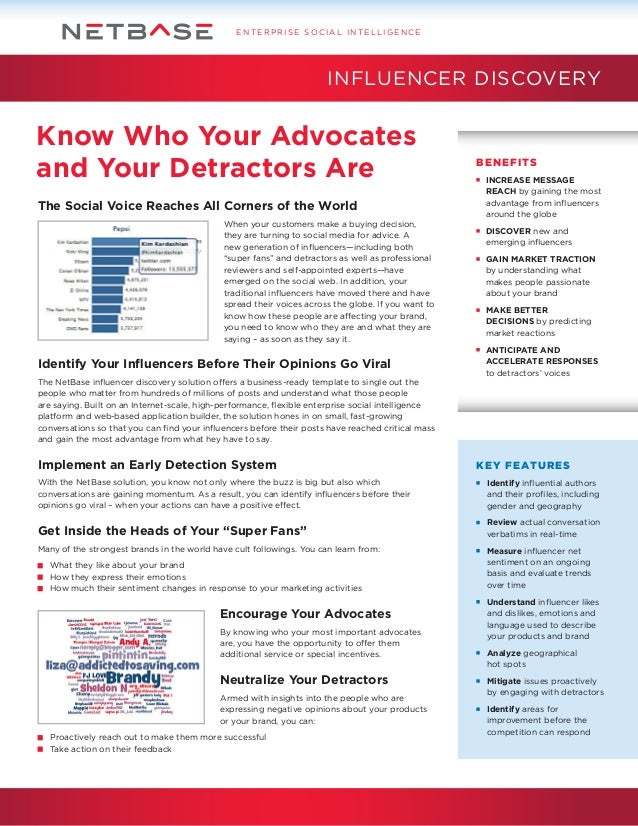 ENTERPRISE SOCIAL INTELLIGENCE  INFLUENCER DISCOVERY  Know Who Your Advocates and Your Detractors Are The Social Voice Rea...