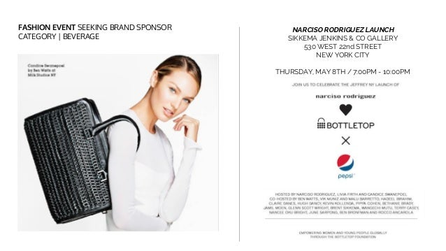 FASHION EVENT SEEKING BRAND SPONSOR CATEGORY | BEVERAGE NARCISO RODRIGUEZ LAUNCH SIKKEMA JENKINS & CO GALLERY 530 WEST 22n...