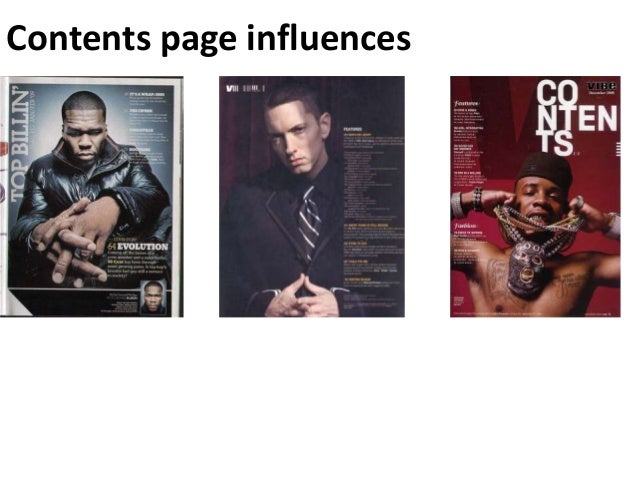 Contents page influences