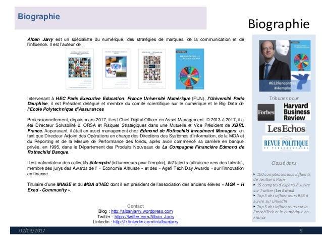 Biographie 02/03/2017 9 Tribunes pour Classé dans ► 100 comptes les plus influents de Twitter à Paris ► 15 comptes d'exper...