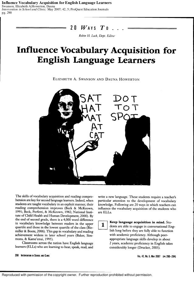 Influence Vocabulary Acquisition for English language Learners