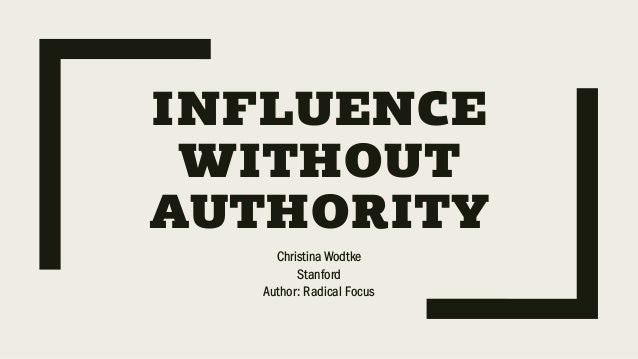 INFLUENCE WITHOUT AUTHORITY Christina Wodtke Stanford Author: Radical Focus