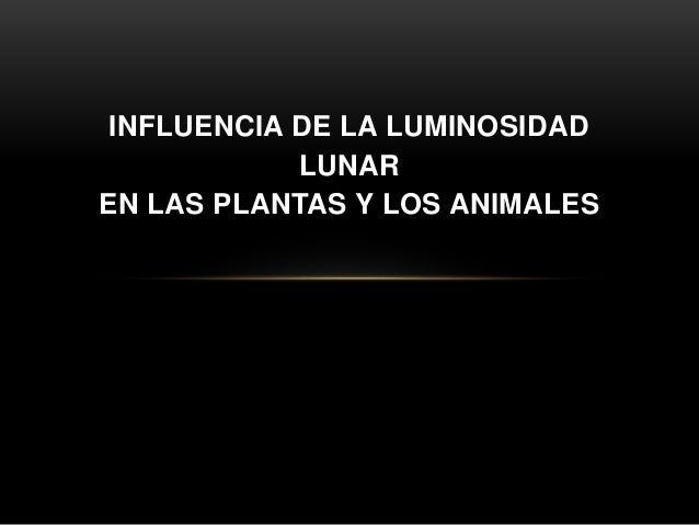 INFLUENCIA DE LA LUMINOSIDAD LUNAR EN LAS PLANTAS Y LOS ANIMALES